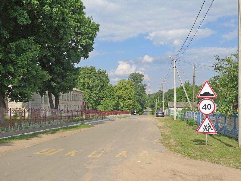 Шацк, ул. Школьная, дорожный знак, ограничивающий скорость, надпись на асфальте 'ШКОЛА'