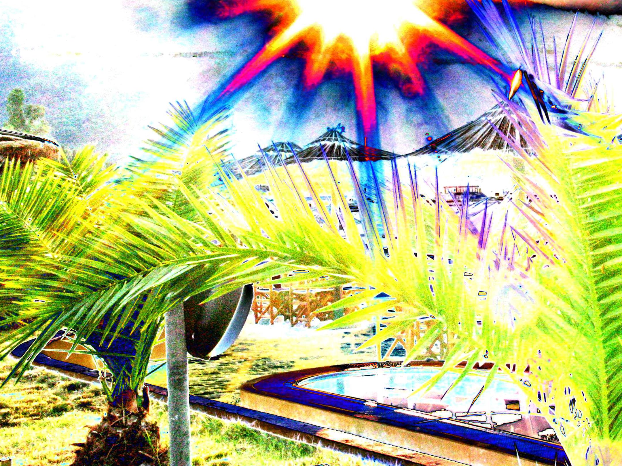 Солнце, пальмы, пляжные зонтики